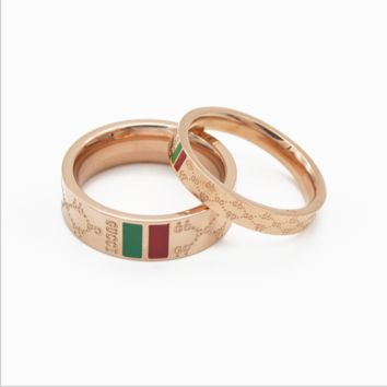 f89f1caec Gucci:Red green bar ring rose gold titanium steel waterproof rin