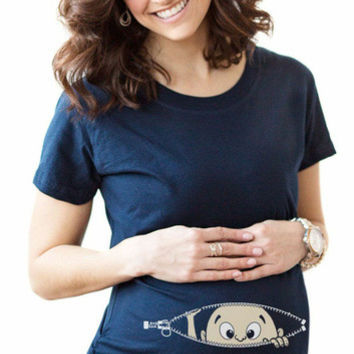 Baby Pee a Boo Cute Maternity T-Shirts