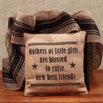 Mothers of Little Girls Are Blessed - French Flea Market Burlap Accent Throw Pillow - 8-in x 8-in