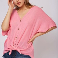 Waffle Knit Tie Top