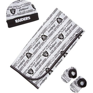 Oakland Raiders Receiving Blanket, Cap & Booties Set - Baby (Oak White)