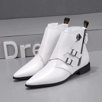 LV Louis Vuitton Woman Genuine Leather Fashion White Casual Boots Sneakers Shoes