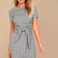 Penny Black and White Gingham Knotted Sheath Dress