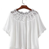 Women sexy off shoulder slash neck blouses lace hollow out half sleeve shirts elastic neck ladies summer casual tops DT708