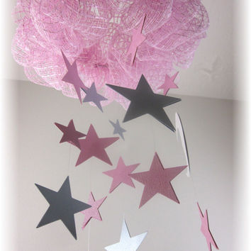 Cloud Mobile, Pink and Gray Star Nursery Mobile, Star Nursery Bedding,  Baby Shower Gift,  Moon and Stars Mobile, Nautical Mobile