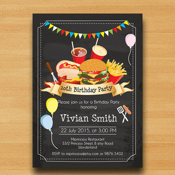BBQ Birthday Invitation, Chalkboard Burger, Kids Barbecue birthday 5th 6th 7th 8th 9th 10th 20th 30th 40th 50th 60th 70th any age - card 444