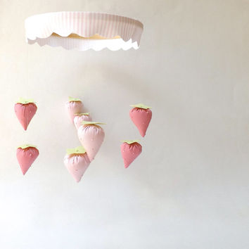 BABY Mobile / STRAWBERRY Mobile / Nursery / Baby's Room Decor / Crib Mobile / Baby Shower Gift / Baby Girl Mobile / Spring / Pink / CUSTOM