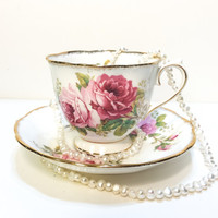 Royal Albert Tea Cup, American Beauty, Roses, Pink, Gold Rims, Bone China, Cottage Chic, Shabby Chic