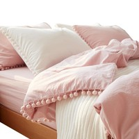 2/3pc Pink Princess Bedding Sets with Washed Ball Decorative Microfiber Fabric Queen King Duvet Cover Pillowcase Comfortable