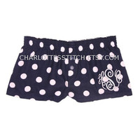 Monogrammed Ladies Boxer Shorts - Navy and White Polka Dot