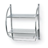 Polder 90-05 Double Bathroom Shelf and Towel Rack, Chrome
