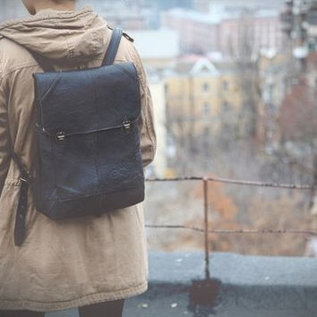 Black backpack, genuine leather, hipster backpack, backpack, leather backpack, handmade backpack school backpack men backpack women backpack