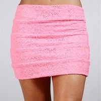 Neon Pink Lace Banded Skirt