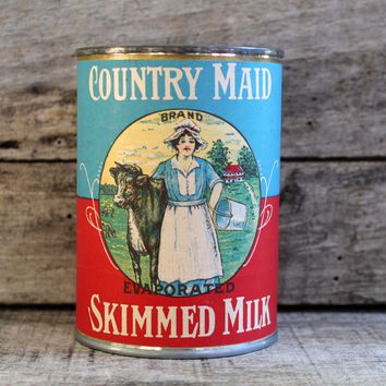 Vintage Can Label Country Maid Skimmed Milk Home Decor Collectible