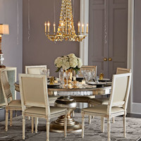 Massoud Cara Dining Chair & Eliza Mirrored Dining Table