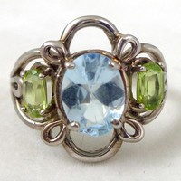 Estate Sterling Silver Topaz Peridot Floral Ring Sz 6