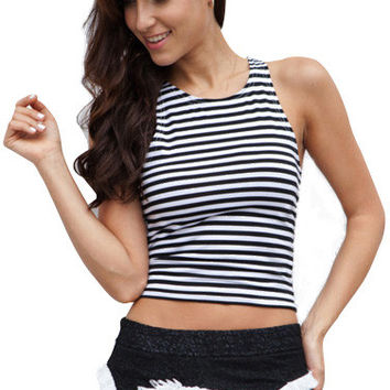Stripes Backless Crew Sleeveless Cami