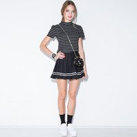 Black Pleated Striped  High Waist Skirt