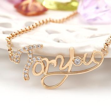 Gold-plated fashion 18K gold alphabet zircon short clavicle necklace female