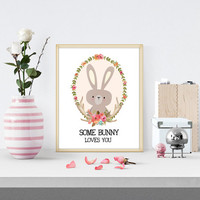 Some Bunny Loves You Floral Printable, Nursery Deer Printable,Wall Print, Antler Print, Flower Quote Print,Spring Flower Print, Baby Room