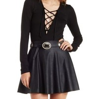 Black Long Sleeve Lace-Up Bodysuit by Charlotte Russe