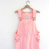 vintage bib overalls dress • peach pink jumper dress / XL