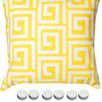 """Manual Woodworkers SLGKYW Yellow Greek Key 18"""" x 18"""" Climaweave Outdoor / Indoor Pillow with 6-Pack of Tea Candles"""