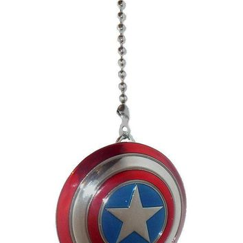 DC & Marvel comics SUPER HERO superhero character PEWTER Ceiling FAN PULL light chain (Pewter CAPTAIN AMERICA shield)
