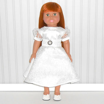 Communion Special Occasion Flower Girl White Dress for 18 inch Girl Dolls American Doll Clothes