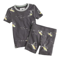 crewcuts Boys Short Glow-In-The-Dark Pajama Set With Surfing Skeletons