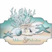 Dream Shore Beach Teal Wedding Table Sculpture