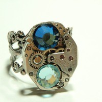 sky steampunk watch movement ring adjustable swiss by keoops8