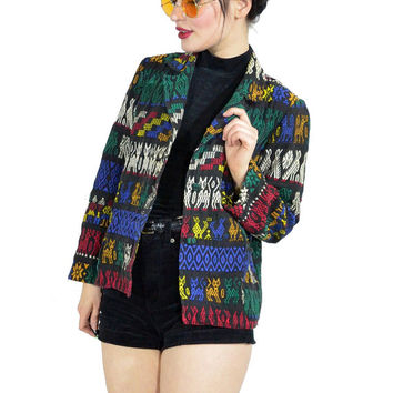 vintage 90s embroidered jacket soft grunge coat cotton gypsy boho black jacket tribal print size medium