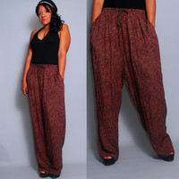 Vintage  1990s Cotton black red  FLORAL Drawstring High waist grunge festival baggy trouser harem sweat pants