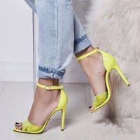 Electric Yellow Heel Sandals