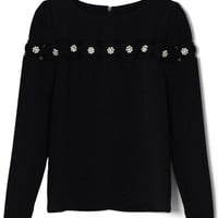 Black Long Sleeve Mesh Floral Top with Pearl Embellishment