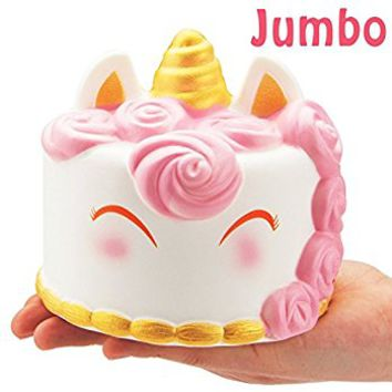 R • HORSE Jumbo Cute Unicorn Mousse Kawaii Cream Scented Squishies Slow Rising Decompression Squeeze Toys for Kids or Stress Relief Toy Hop Props, Decorative Props Large (Unicorn Cake)