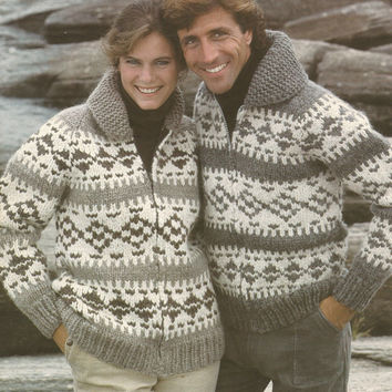 White Buffalo Pattern #6131.  Cowichan Salish style sweater, Wool cardigan, Adult, Native Canadian, hippy, West coast, stranded his and hers