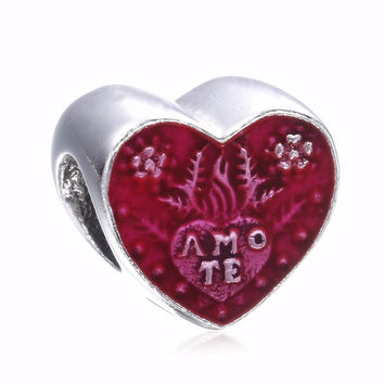 925 Sterling Silver Latin Love Heart Charms Beads Fits Pandora Bracelet Valentine's Day Gift Heart Beads For DIY Jewelry Marking