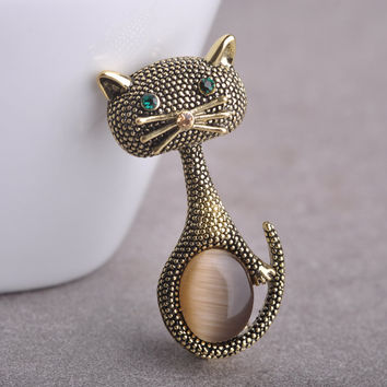 Vintage Opal Cat Eye Brooch Pins For Women Gold-Color Cute Animal Broches