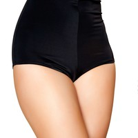 Pinup Style High-Waisted Shorts - Black