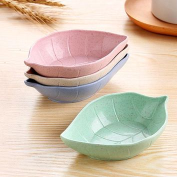 Leaves Shape Baby Kids Dish Bowl Wheat Straw Soy Sauce Dish Rice Bowl Plate Sub - plate Japanese Tableware Food Container S2