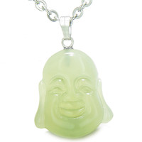 Amulet Happy Laughing Buddha Lucky Charm Green Serpentine Pendant 22 Inch Necklace