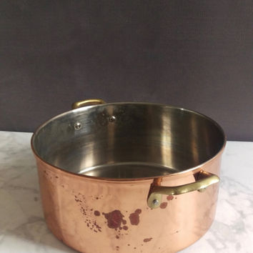 Copper Stockpot with brass handles/ Vintage Copper Stockpot/ Copper Pot/ Rustic Brass Pot/ Usable Copper Pot/ Stockpot/ Copper Cookware