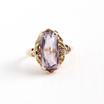 Vintage 10k Rosy Yellow Gold Rose De France Amethyst Ring - Art Deco Size 8 1/2 Flower Two Tone Light Purple Gem Statement Fine Jewelry