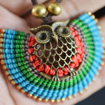 Macrame OWL Brass Boho Necklace, Indian Necklace, Tribal Necklace, Gold Necklace, Gipsy Necklace, Boho pendant 15