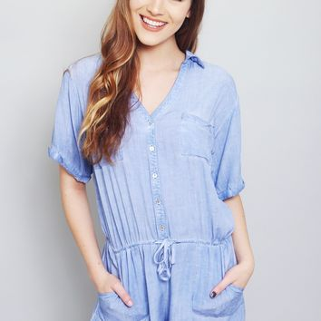 Chambray Button Down Romper