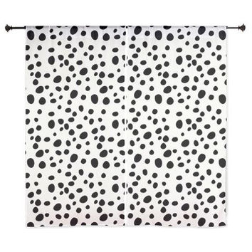 Chiffon Curtains - Dalmatian Print Curtains - Sheer Curtains - Black and White - Bedroom Curtains - Girls Curtains - Teen Curtains - Sheer