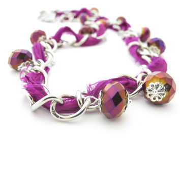 Chain and Purple Sari Silk Necklace with Iridescent Crystal Beads