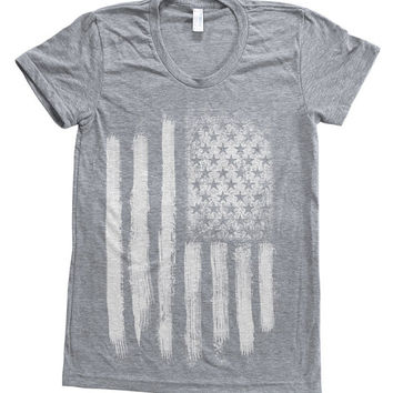 American Flag Women Tri-blend American Apparel Track Shirt Hand Screen Printed